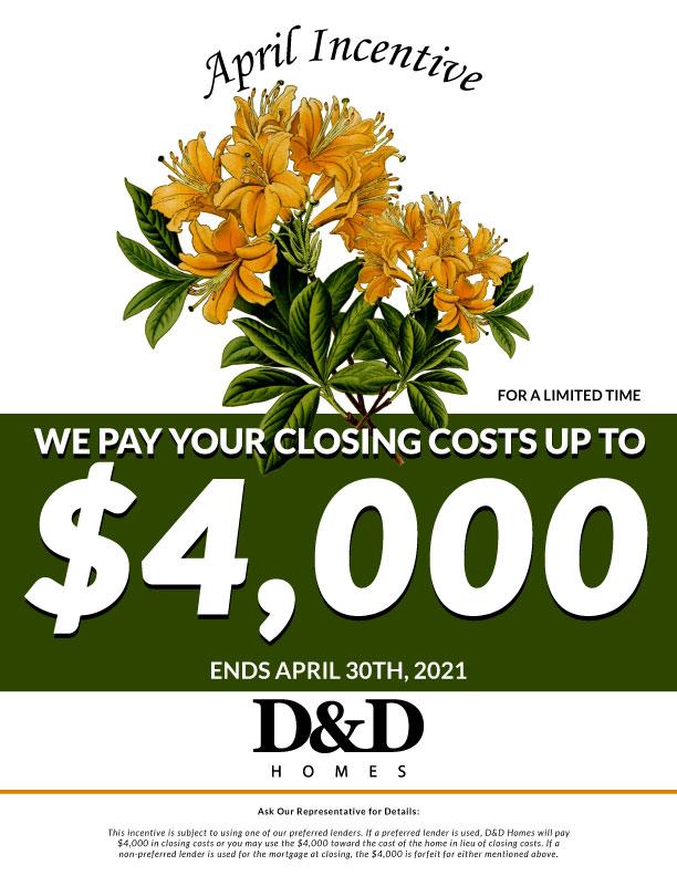 Flyer April Incentive Version 1 D And D Homes